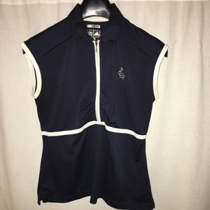 Adidas Blue White Golf Top ClimaCool Size Small